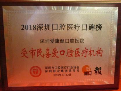 """爱康健口腔医院获评2018""""受市民喜爱口腔医疗机构"""""""